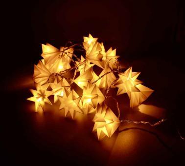 Faltlaternen Lichterkette mit bunten Lichtern und 15 Stk. weiße Faltlaternen